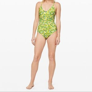 Lululemon one piece lemon swimsuit.